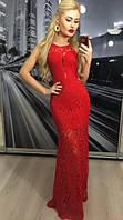 Праздничное платье кружево красное