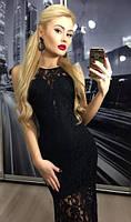 Черное длинное платье кружево
