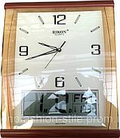 Часы настенные ( 23x40см) кварцевые RIKON, внизу электронные
