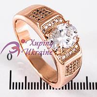 Кольцо позолота «Печатка» с овальным камнем