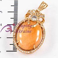 Подвеска лимонная позолота, овальный камень в оправе мелких камней с бантиком