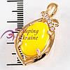 Подвеска лимонная позолота, овальный камень нефрит, в завитке +5камней
