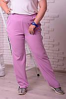 Сиреневые женские брюки больших размеров Кнопка
