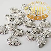 Клеевая акриловая капля, цвет Silver Diamond, 10х14mm, цена за 1шт
