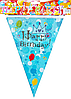"Флажки для праздника ""Happy Birthday""  Prince blue Happy Party"