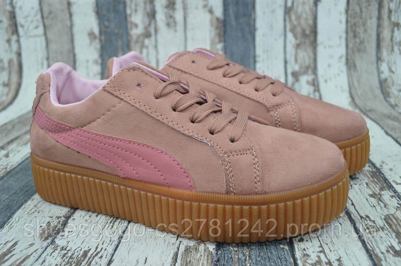 Женские кроссовки, криперы Puma by Rihanna Пума Риана розовые - интернет- магазин