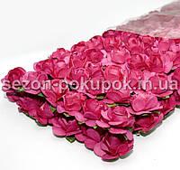 ОПТ Роза бумажная 1.5см (пачка 144 шт). Цвет - МАЛИНОВЫЙ