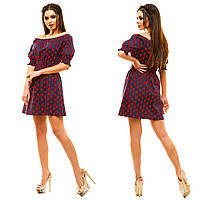 Легкое летнее платье с спадающими плечиками, с принтом-сердечки.