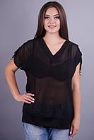 Дениз. Шифоновая блуза на каждый день большие размеры. Черный., фото 1