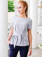 Жіноча сіра блузка на зав'язці в смужку Limo