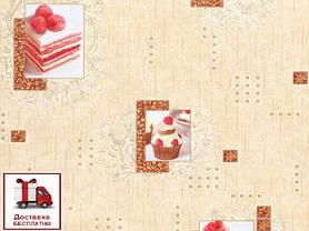 Обои, обои на стену, бумажные влагостойкие, торт, бисквит, капкейк, B56,4 Бисквит 8036-05Х, 0,53*10м, фото 3