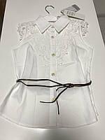 """Блузка белая для девочек с поясом """"busrabebe"""""""