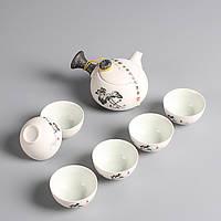 """Чайный сервиз керамический """"Черный пион"""" в подарочной коробке"""