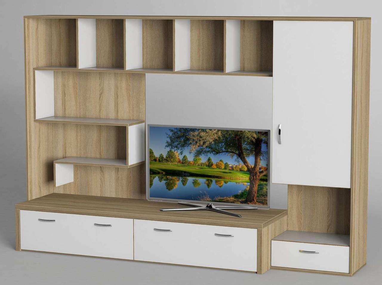 Стінка для вітальні з ДСП/МДФ (гостиная стенка) - 101 Тіса меблі