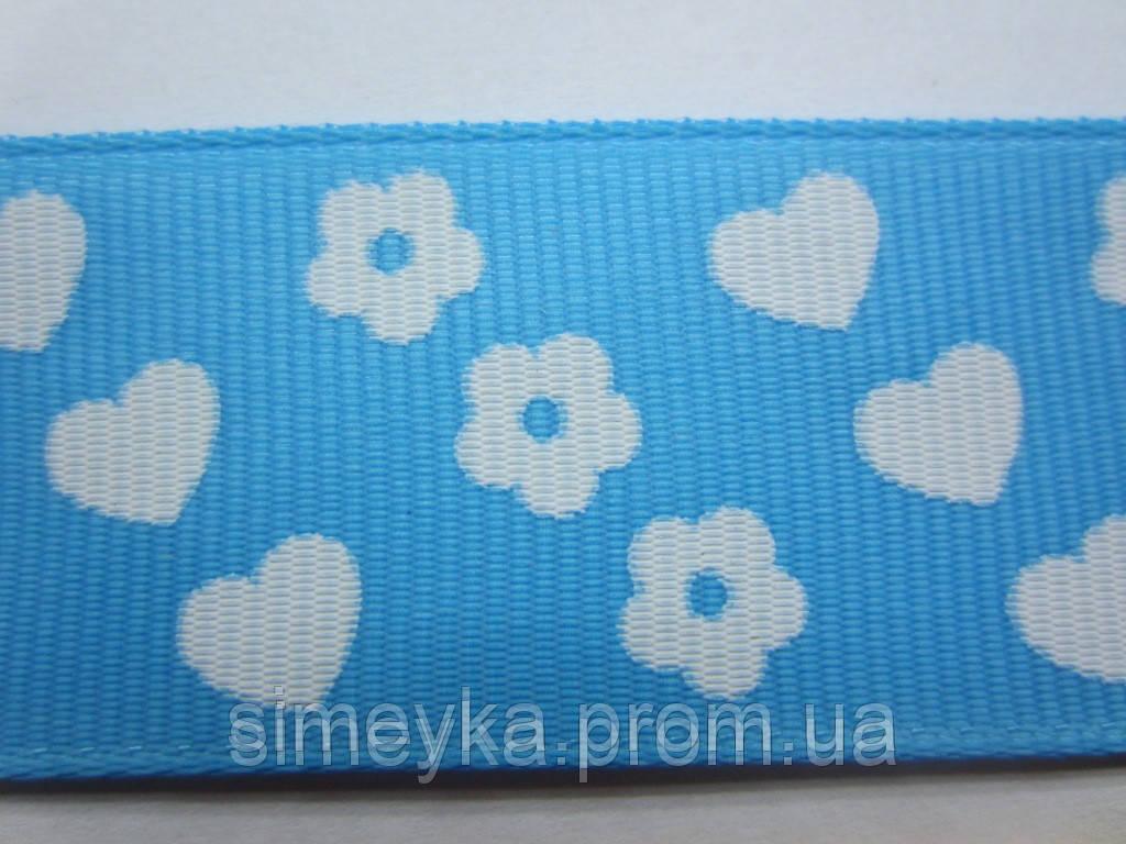 """Лента репсовая""""цветочки-сердечки"""", ширина 2,5 см. Голубая"""