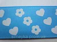 "Лента репсовая""цветочки-сердечки"", ширина 2,5 см. Голубая, фото 1"