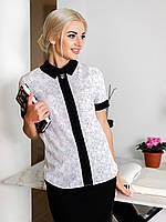 Жіноча офісна біла блузка з узором Izabel