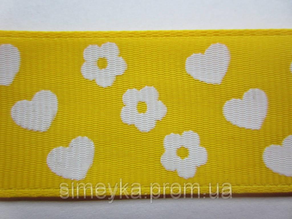 """Лента репсовая""""цветочки-сердечки"""", ширина 2,5 см. Жёлтая"""