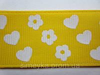 "Лента репсовая""цветочки-сердечки"", ширина 2,5 см. Жёлтая, фото 1"