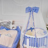 """Комплект постельного белья в круглую и овальную кроватку  """"Mon Amie"""" голубой"""