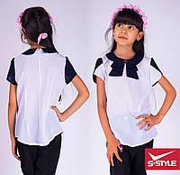 Школьная блуза для девочки,белая с синей отделкой