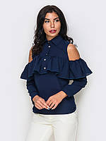 (XS, S, M, L, XL) Стильна офісна синя блузка Iren