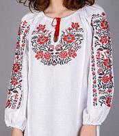 Современная женская вышиванка с красно-чёным орнаментом БП