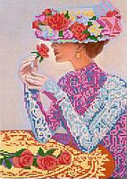 Схема для вышивки бисером POINT ART Дама с розами, размер 20х28 см