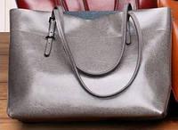 Красивая женская кожаная сумка Grays; GR-6688G, серый