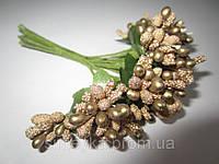 Тычинки крупные, додатки к цветам золотистые с зелёными листиками, букетик из 11 соцветий, длина, фото 1