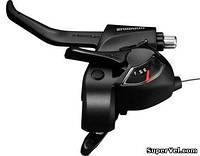 Манетка левая 3 ск. Shimano ST-EF41 с тормозной ручкой, черная