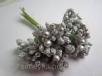 """Цветочный обруч: """"шишечки"""" серебристые с зелёными листиками, букетик из 11 соцветий, длина 12 см"""