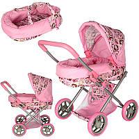 Детская коляска для куклы 9369/82100, жел, классика, корзина, 68-61-36см, выс.до ручки 54см