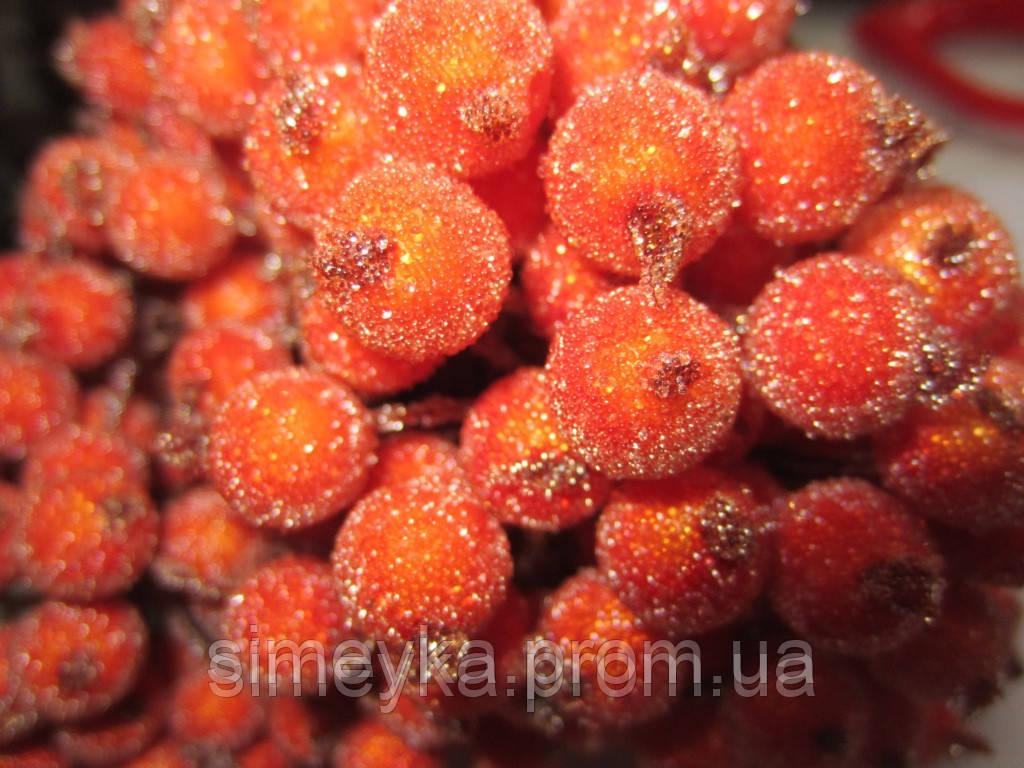 Рябина декоративная оранжевая сахарная, соцветие из 40 ягод, диаметр ягоды 12мм, длина проволоки 12см
