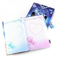 Блокнот для девочек с замочком синий