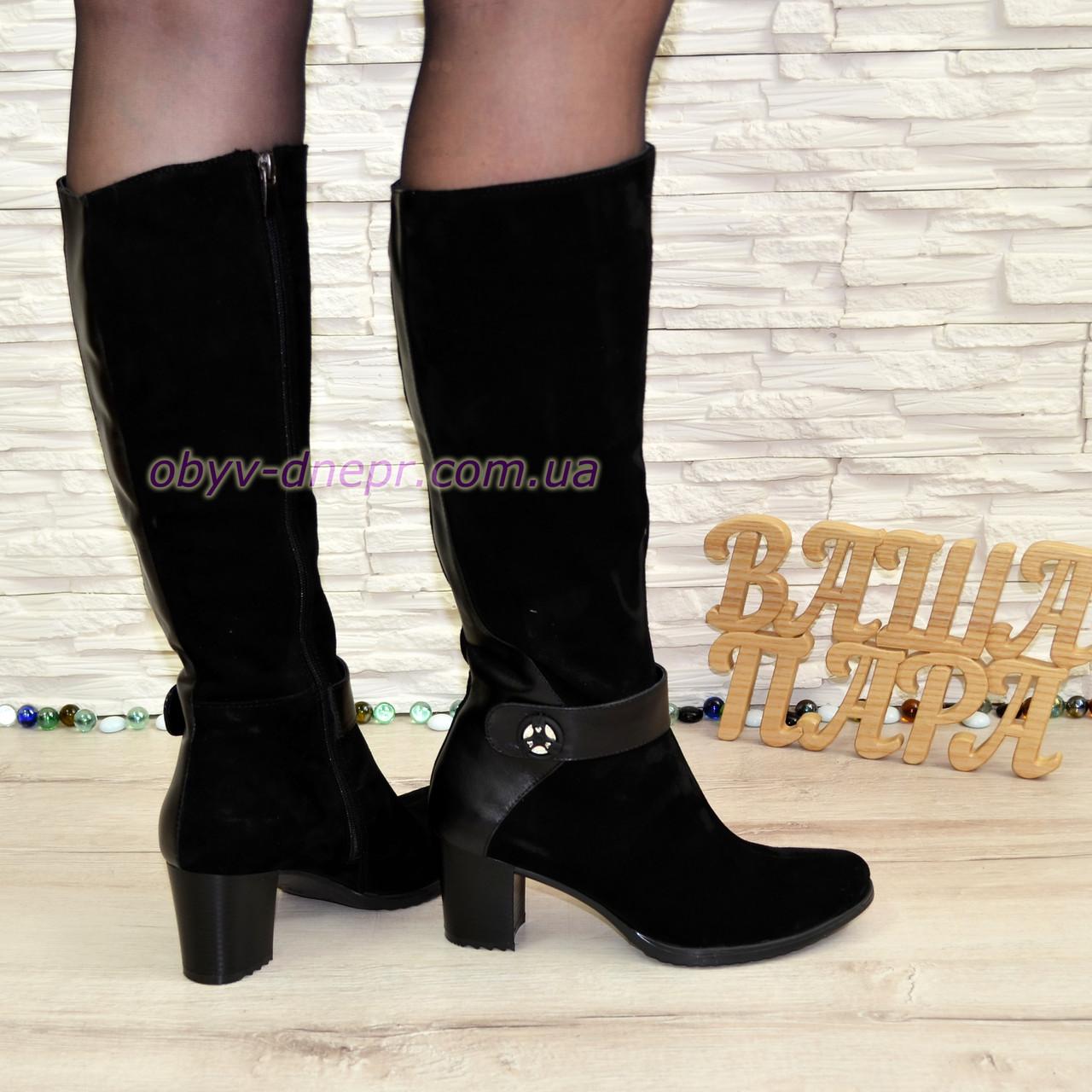 9ea6b74cb Зимние женские сапоги из натуральной замши черного цвета на невысоком  каблуке. - Интернет-магазин