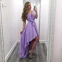 Женское Фиолетовое Шифоновое ПЛАТЬЕ Летнее укорочено спереди , фото 1
