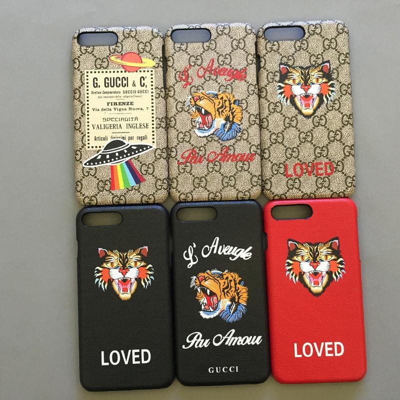 """Iphone 7 / 7 PLUS кожаный чехол панель накладка НАТУРАЛЬНАЯ КОЖА логотип тигр GUCCI """""""