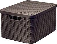 Пластиковая корзина темно - коричневая с крышкой L STYLE 2 Curver 205861