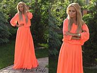 Женское Оранжевое Шифоновое ПЛАТЬЕ Длинное в пол