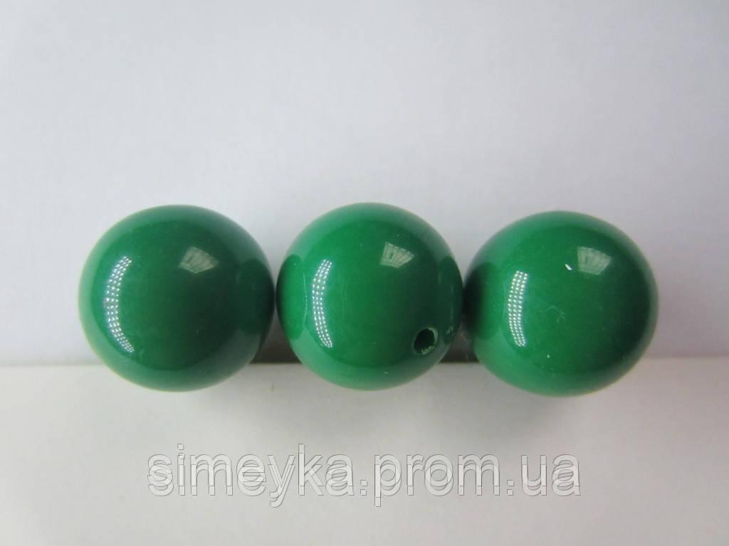 Бусина акриловая (имитация натурального камня) 14 мм. Тёмно-зеленая