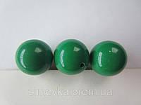 Бусина акриловая (имитация натурального камня) 14 мм. Тёмно-зеленая, фото 1