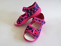 Детские текстильные тапочки на липучках для девочек
