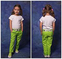 """Модельные детские брюки """"Лен"""" для девочки с поясом """"Armani"""", разные расцветки и размеры"""