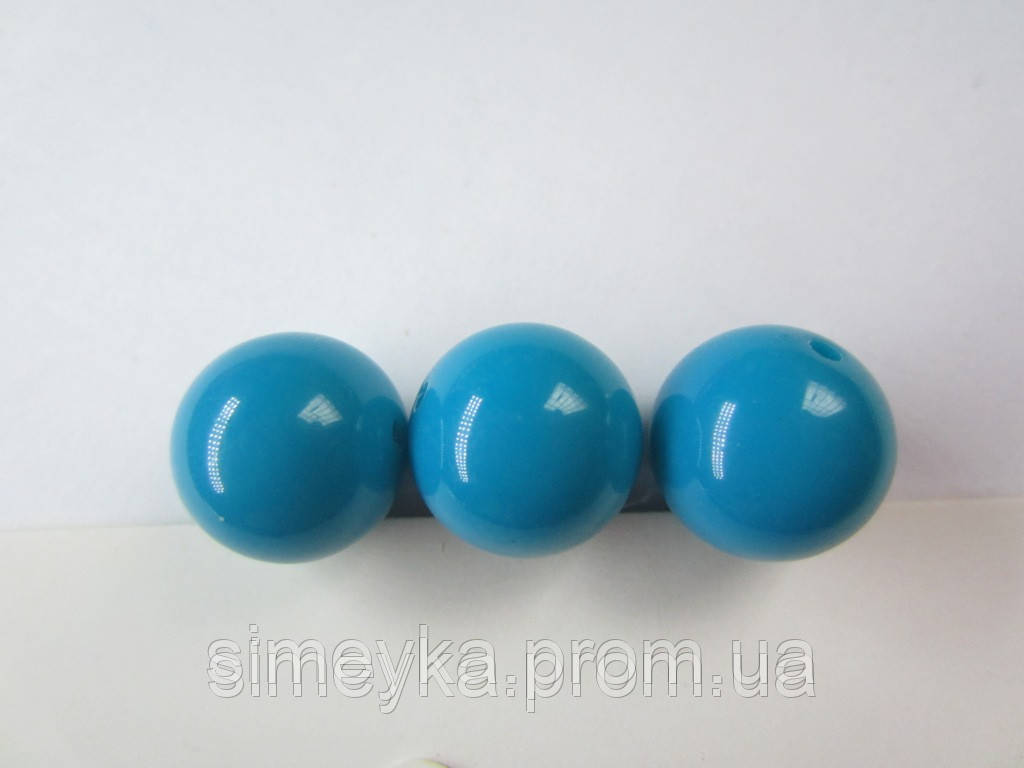Бусина акриловая (имитация натурального камня) 14 мм. Бирюзовая