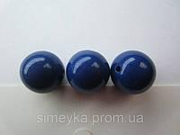 Бусина акриловая (имитация натурального камня) 14 мм. Тёмно-синяя, фото 1