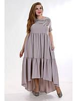 Вечернее платье большого размера с асимметричным низом и вышивкой