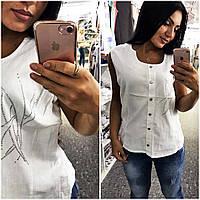 """Женская летняя блузка в больших размерах 4672 """"Лён Пуговицы Стразы"""""""