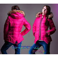 Зимняя куртка-парка для девочки на холлофайбере с натуральной опушкой,S-Style