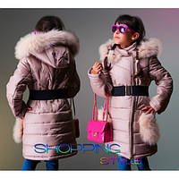 """Детское зимнее пальто """"Снегурочка""""на холлофайбере,подклад флис,опушка натуральная,для девочки S-Style"""